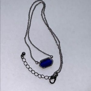 Blue Stone Necklace In Pewter Tone